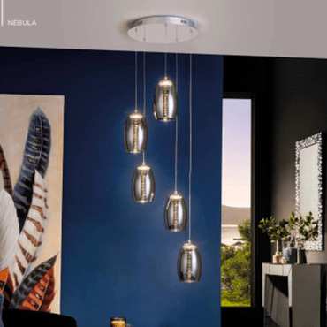 lampar techo nebula led 5 luces schuller