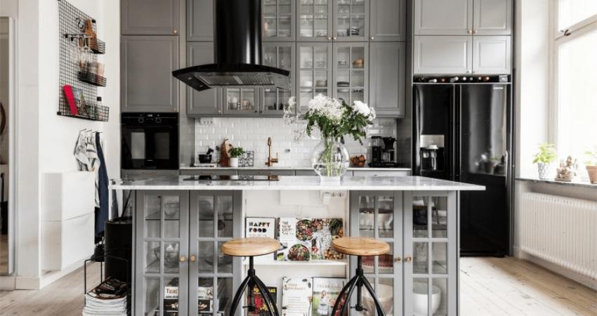 Decoración nórdica para un apartamento pequeño con cocina de isla